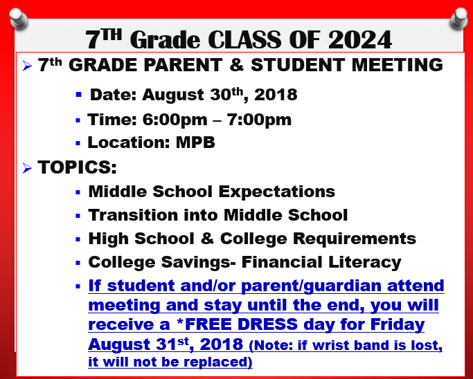 Aug 30- 7th Grade Educational Essentials Meeting